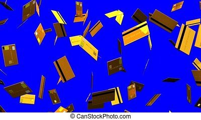 Gold Credit cards on blue chroma key. Loop able 3D render...