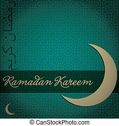 "Gold crescent moon ""Eid Mubarak"" (Blessed Eid) card in vector format."