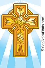 Gold Cross - An illustration of a gold cross on a background...