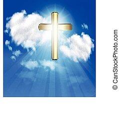 Gold cross on sky vector