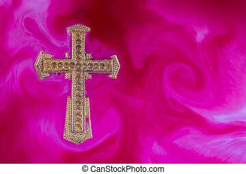 Gold Cross Purple