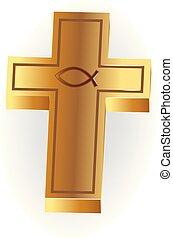 Gold cross symbol logo