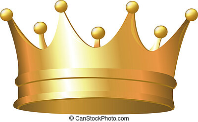 Gold Crown, Isolated On White Background, Vector...