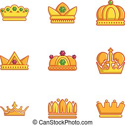 Gold crown icons set, flat style