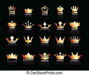 Gold crown icons set. Illustration vector