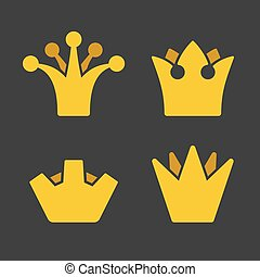 Gold Crown Icons Set on Dark Background. Vector