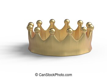 gold crown isolated on a white 3d illustration