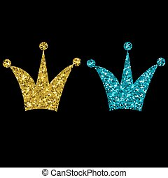 Gold Crown Isolated On black Background. Vector Illustration
