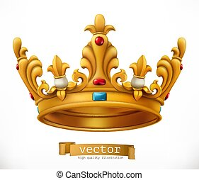 Gold crown. King. vector icon
