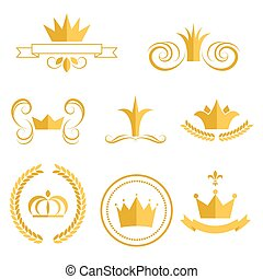 Gold crown logos and badges clip art vector set.