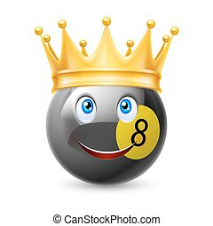 Gold crown on a billiard ball with smiling face