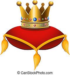 Gold crown on a crimson cushion. Vector illustration on a...