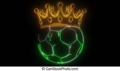 Gold crown on a soccer ball isolated on black - Gold crown ...