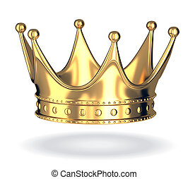 Gold crown only on white isolated background. 3d ...