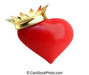 gold crown red heart on a white background