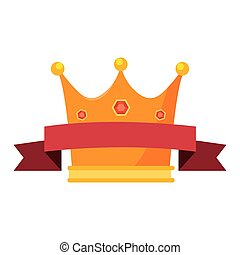 gold crown with ribbon on white background