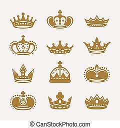 Gold crowns isolated vector icons, signs, symbols