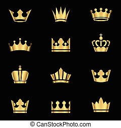 Gold Crowns Set - Set of gold crowns icons. Colors in...