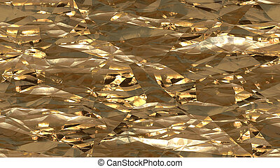Gold Crumpled Foil Seamless Background Texture
