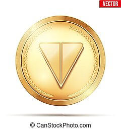 Golden crypto coin with Ton sign. Concept of Telegram blockchain symbol. Vector Illustration isolated on white background.