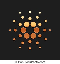 Gold Cryptocurrency coin Cardano ADA icon isolated on black background. Digital currency. Altcoin symbol. Blockchain based secure crypto currency. Long shadow style. Vector.