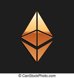 Gold Cryptocurrency coin Ethereum ETH icon isolated on black background. Digital currency. Altcoin symbol. Blockchain based secure crypto currency. Long shadow style. Vector.