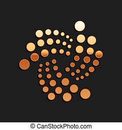 Gold Cryptocurrency coin IOTA MIOTA icon isolated on black background. Digital currency. Altcoin symbol. Blockchain based secure crypto currency. Long shadow style. Vector.