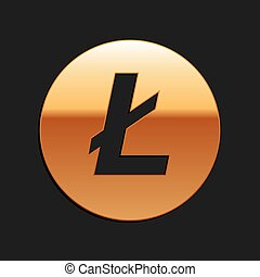Gold Cryptocurrency coin Litecoin LTC icon isolated on black background. Digital currency. Altcoin symbol. Blockchain based secure crypto currency. Long shadow style. Vector.