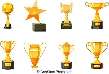 gold csésze, állhatatos, mód, karikatúra, ikon