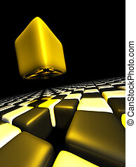Gold cube alone above many anonymous cubes
