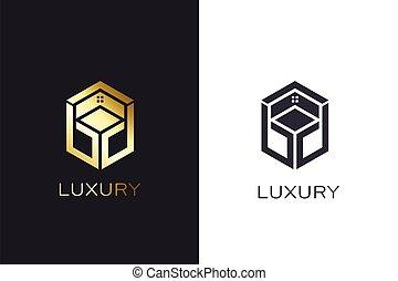 Gold cube house. Luxury style