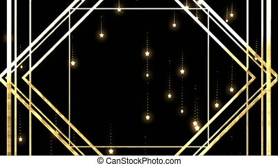 Gold cubes and stars on black background