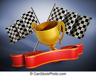 Gold cup, checkered flags and red ribbon. 3D illustration