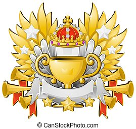Award emblem trophy, first place gold cup, color vector illustration design, horizontal, over white, isolated