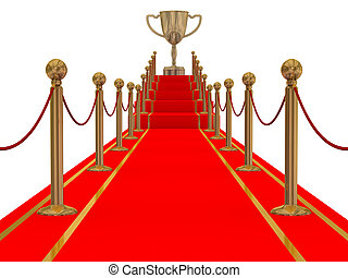 Gold cup of the winner on a red carpet path.
