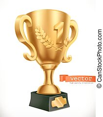 Gold Cup. Reward first place. 3d vector icon