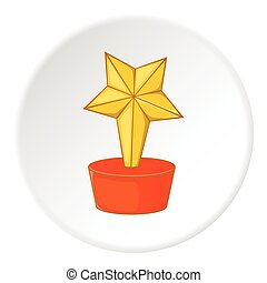 Gold cup star icon, cartoon style