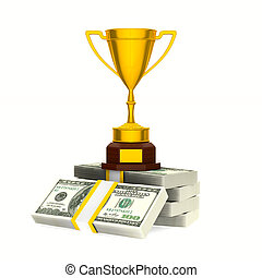 Gold cup winner and money on white background. Isolated 3D illustration