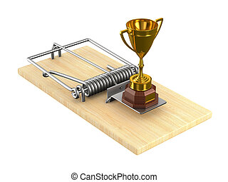 Gold cup winner and mousetrap on white background. Isolated 3D illustration