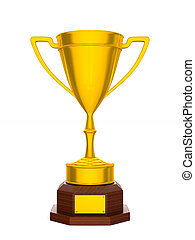 Gold cup winner on white background. Isolated 3D illustration