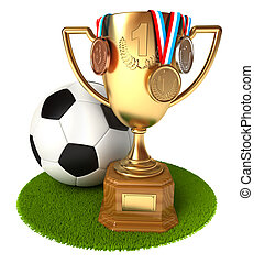 Gold Cup with medals and soccer ball. Conceptual...