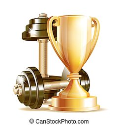 Gold cup with metal realistic dumbbells.