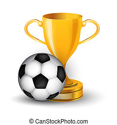 Gold cup with soccer ball