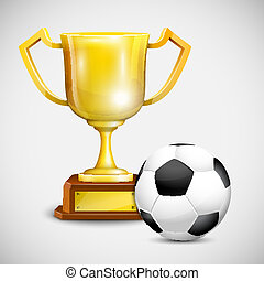 Gold Cup With Soccer Ball.