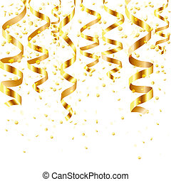 Gold Curling Stream, Isolated On White Background, Vector...