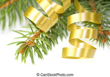 Gold curly ribbon