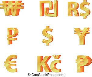 Vector illustration of 3D currency symbol.