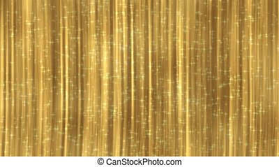 Gold curtain with glittering particles. Looped 4K motion background.