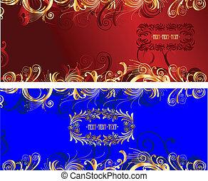 Gold Curves Frame Background. Vector Illustration.