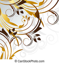 Vector picture of gold curves with silver background